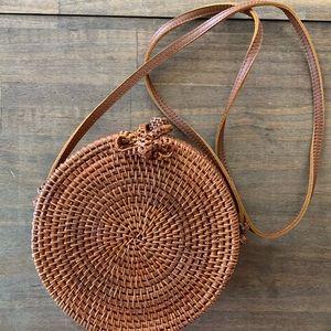 Handbags - Brown Woven Straw Crossbody Bag